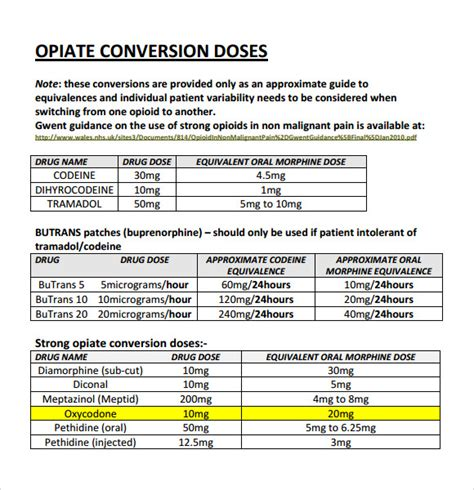 narcotic conversion table pdf sle opioid conversion chart 9 free documents in pdf