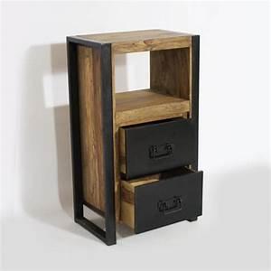 Petit Meuble Industriel : meuble confiturier industriel bois naturel 2 tiroirs made in meubles ~ Teatrodelosmanantiales.com Idées de Décoration