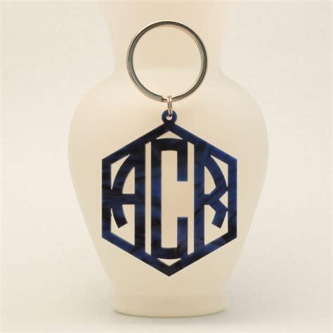 personalized geometric monogram keychain ottava designs