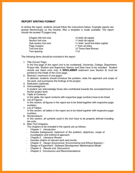 writing a template form report writing format