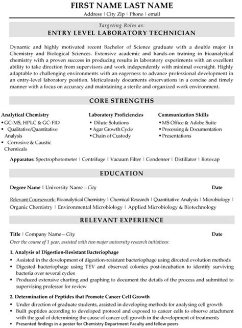 chemistry lab technician resume sle 100 images