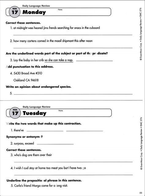 12 best images of daily language review worksheets daily