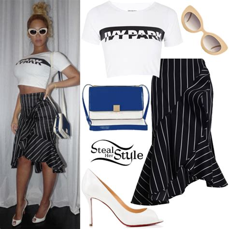 Beyoncé: 'Ivy Park' Crop Tee, Striped Skirt | Steal Her Style