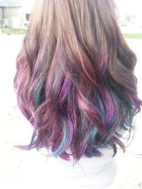 Brown Hair With Purple Highlights Dip Dye Hair Purple