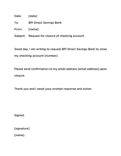Account Closure Letter Template How To Your Savings And Checking Accounts At Bpi