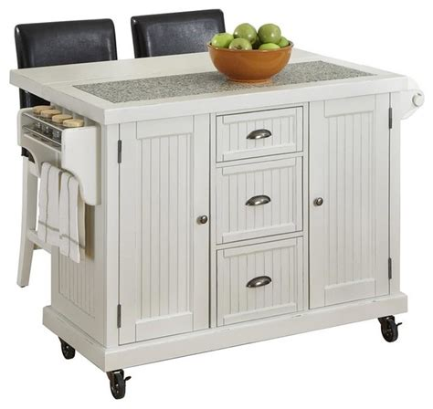 Distressed White Kitchen Cart And Two Stools