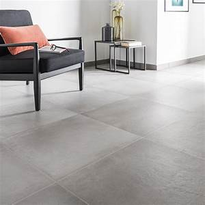 carrelage sol et mur gris ciment effet beton time l60 x l With carrelage sol salon