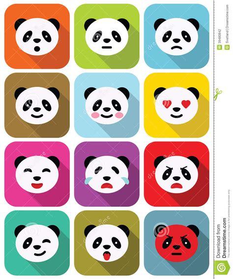 panda bear flat emotions icons set stock vector image