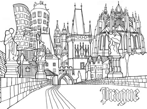 Pocket Posh Panorama Adult Coloring Book Architecture