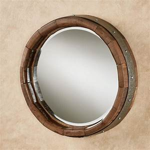 Recycled Wine Barrel Stave Round Wall Mirror