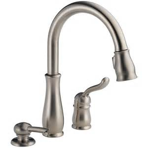 kitchen faucet handle shop delta leland stainless 1 handle pull deck mount kitchen faucet at lowes com
