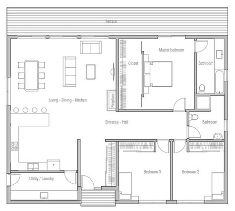 New 3 Bedroom Hall Kitchen House Plans New Home Plans Design