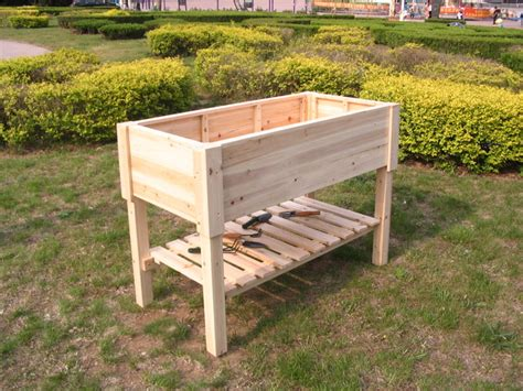 raised garden beds made of fir outdoor pots and