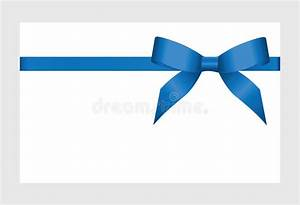 Gift Card With Blue Ribbon And A Bow Stock Vector ...