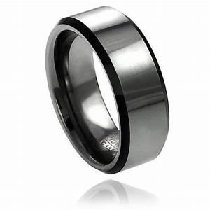 8mm men39s gun metal tungsten carbide wedding band ring With mens gunmetal wedding rings