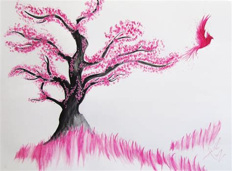 Drawn Cherry Blossom Pencil Step By Step Pencil And In