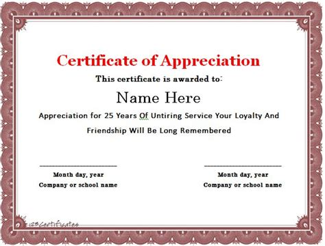 Service Anniversary Certificate Templates by 30 Free Certificate Of Appreciation Templates And Letters