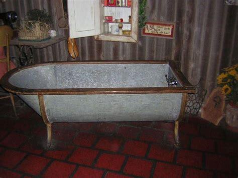 galvanized horse trough shower  metal bathtub