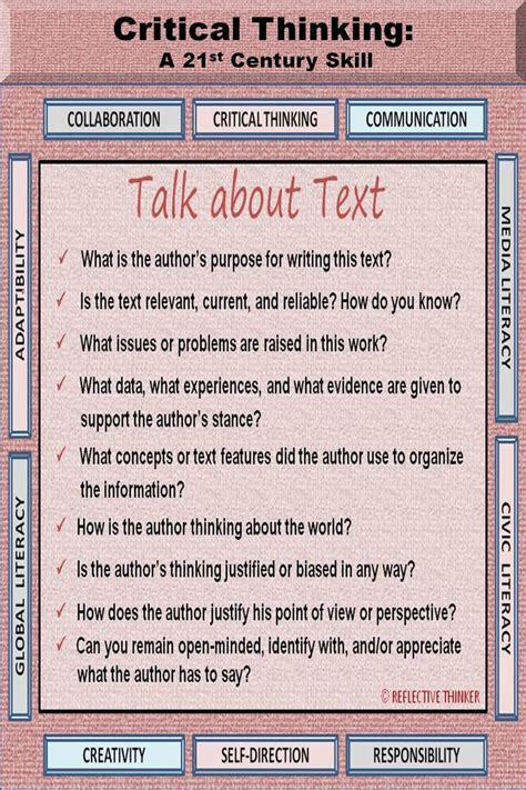 Use These Critical Thinking Questions To Talk Or Write About Text For More Critical Thinking