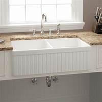 "white kitchen sink 33"" Baldwin Double-Bowl Fireclay Farmhouse Sink - Fluted"