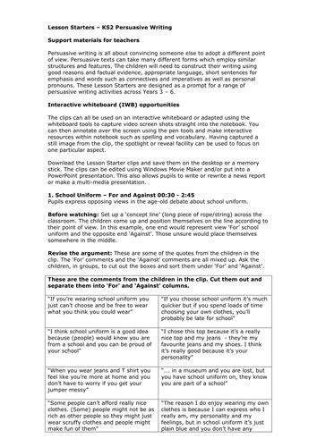 teachers tv ks persuasive writing  teachers tv