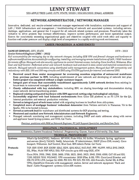 Resume Sles For Network Engineer by Network Manager Resume Writing Help