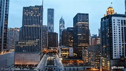 Night Chicago Downtown Timelapse Gifs Copy Animated