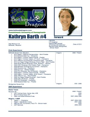 Soccer Player Profile Template player profile soccer fill printable fillable