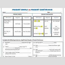 Present Simple Vs Present Continuous Worksheets  Save 75% By Mariapht  Teaching Resources