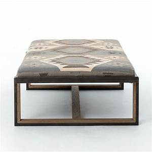 Eclectic iron and kilim upholstered coffee table ottoman for Modern kilim ottoman coffee table