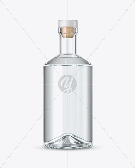 Illustration set of clear glass empty bottles and glasses. Clear Glass Gin Bottle Mockup in Bottle Mockups on Yellow ...