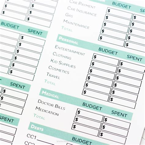 simple editable budget worksheets printable crush