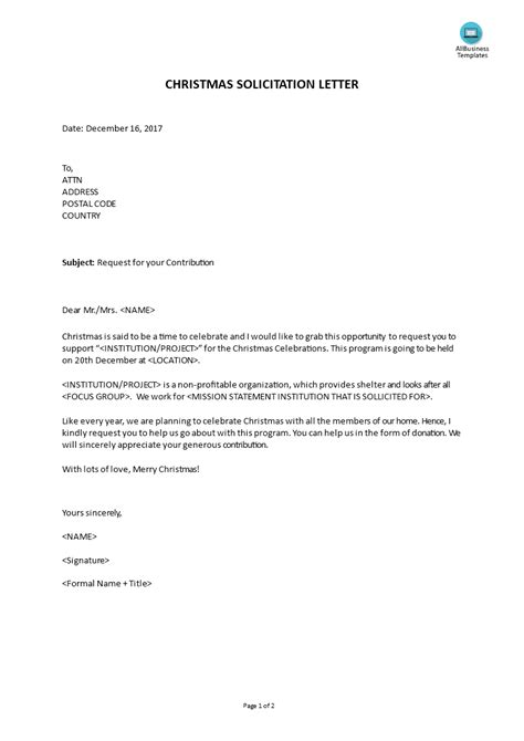 christmas solicitation letter templates