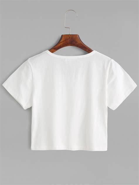 neck cropped t shirt white plain crop t shirtfor romwe