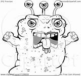 Angry Alien Cartoon Ugly Coloring Clipart Vector Thoman Cory Without Outlined Royalty sketch template