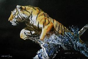 Tiger Jumping In Water 2 Painting by Susana Falconi