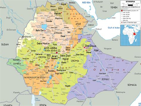 political map  ethiopia ezilon maps