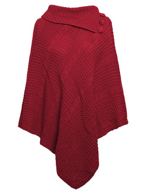 womens cable knitted poncho winter 3 button wrap shawl jumper sizes 8 26 ebay