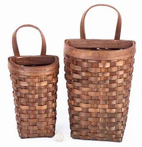 Primitive natural woven wall baskets buckets