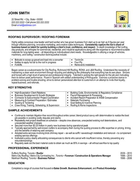 roofing supervisor resume sle template