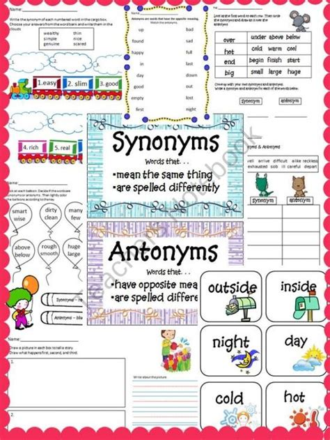 42 best images about teaching synonyms and antonyms on