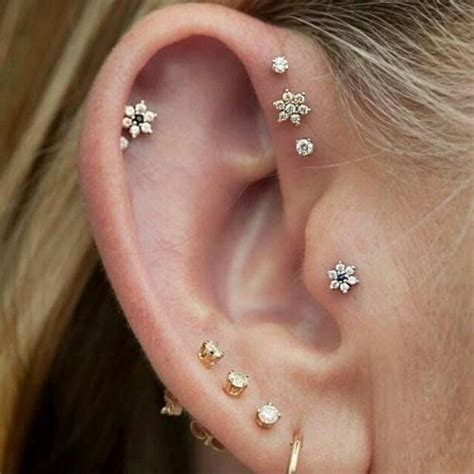 nina dainty small crystal flower ear piercing stud
