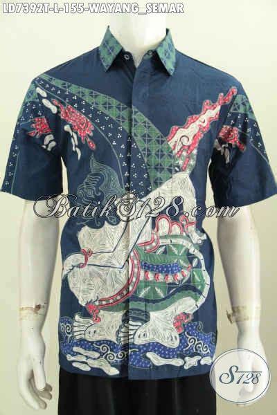 Kalung Motif Semar hem batik dasar biru motif semar kemeja batik wayang