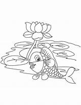 Lake Fish Lotus Coloring Pages sketch template