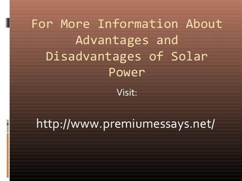 advantages  disadvantages  solar power