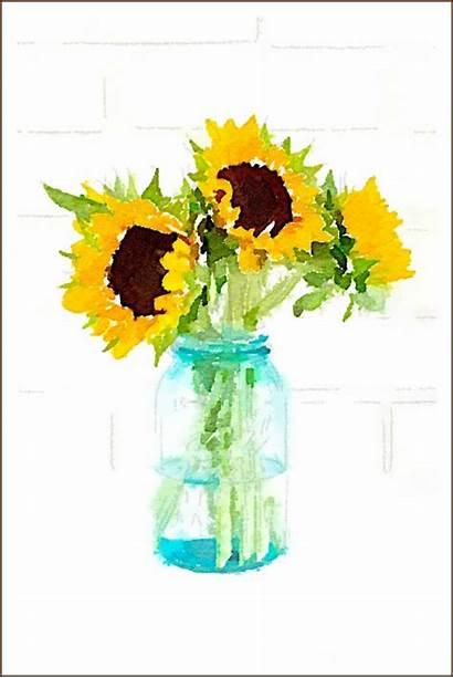 Watercolor Jar Sunflower Mason Sunflowers Fall Printables