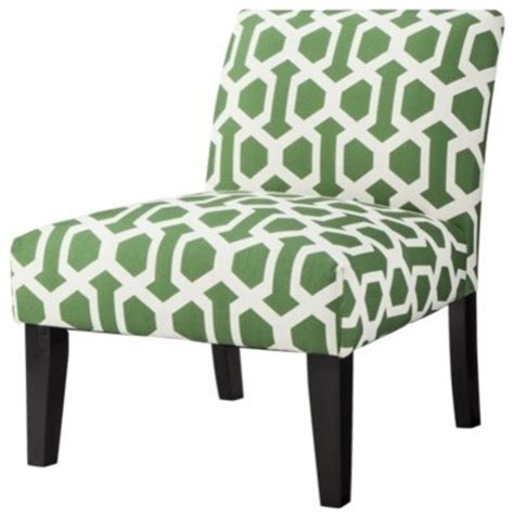 avington armless slipper chair green white trellis