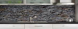 C Macredence Com : cr dence de cuisine pierres plates grises sur mesure ~ Nature-et-papiers.com Idées de Décoration