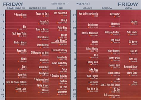 deck the 2012 lineup times coachella 2013 set times released huffpost