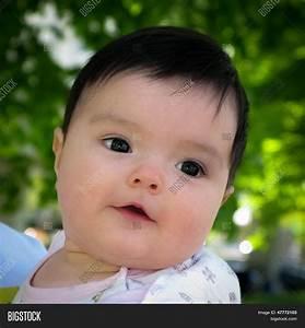 Portrait Cute Baby Girl Black Hair Image & Photo | Bigstock